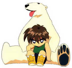 Heero and a polar bear (SD)